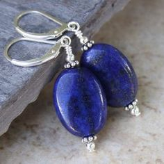 Pretty Handmade Blue Lapis Lazuli Gemstone Leverback Drop Dangle Earring