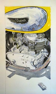 Ducati Scrambler 450cc (1971)_cm70xcm30 (watercolour)