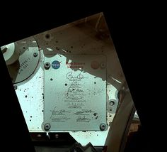 Plaque of President Obama and Vice President Joe Biden's signatures on Mars (Mars Science Laboratory/Curiosity rover). NASA/JPL-Caltech/MSSS