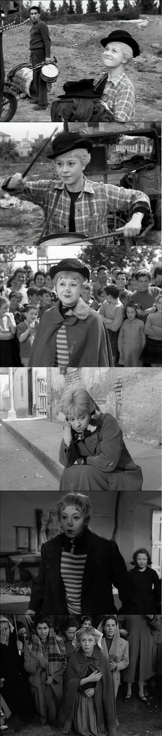 Giuletta Masina as the Chaplinesque Gelsomina in La Strada 1954 Literally retarded, childish, ingenuous, and at heart, an artist, she must live under the brutal hand of Zampano, who stifles her potential and eventually kills her illusions.