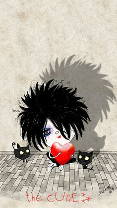 The Cure ....Aaww, Robert Smith even looks sad as a cartoon ;) He still rocks!  #thelovecats