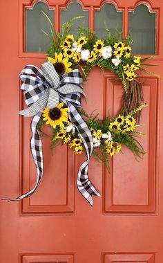 Sunflowers, cotton and buffalo plaid wreath; buffalo plaid decor - Excited to share this item from my shop: Sunflowers, cotton and bufflao plaid wreath; Farmhouse Style Kitchen, Farmhouse Decor, Modern Farmhouse, Farmhouse Front, Seasonal Decor, Fall Decor, Summer Mantle Decor, Mini Sunflowers, Plaid Decor