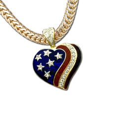 """Heart of Patriot Neckslide - The colors of the American flag featuring Swarovski crystal stars and ribbon in goldplate and blue and red enamel. Chain sold separately. Size: 1.25""""H x 1.75""""W. Price: $20.00 #American flag neckslide #heart neckslide #patriotic neckslide http://www.starsandstripesproducts.com/heart-of-patriot-neckslide/"""