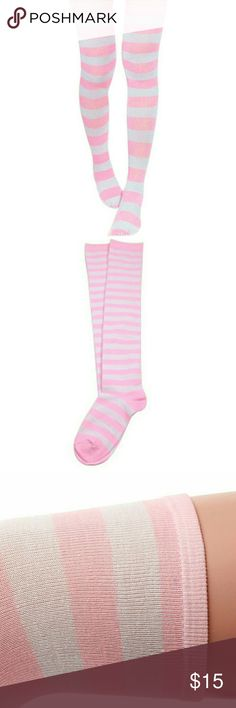"NEW Knit Thigh High Boot Socks Pink White Stripes Brand new in packaging. Barbie pink & white candy cane striped over the knee thigh high boot socks, lightweight knit cotton blend for year round wear (I wear them with boots or for extra layer under pants or over tights in winter, or flirty style with short shorts & skirts in summer ). Lots of stretch, one size fits most adult shoe sizes. 18.5"" from heel.  Thank you for visiting my closet, and happy poshing!! :)  SORRY NO TRADES  BUNDLE…"