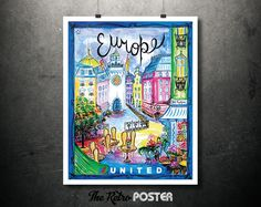 Europe - United Airlines Vintage Travel Poster - Artist: B.J. Faulkner // High Quality Fine Art Reproduction Giclée Print by TheRetroPoster on Etsy