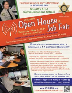 Open House - Job Fair May 5, 2014 -  9 a.m. to 2 p.m. Careers in Sheriff's 9-1-1 Communications Officer