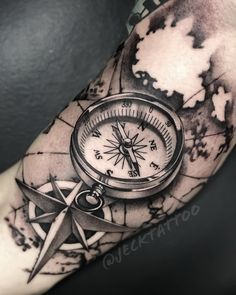 Compass Tattoo Meaning Shoulder Sleeve Tattoos, Full Sleeve Tattoos, Tattoo Sleeve Designs, Tattoo Designs Men, Compass And Map Tattoo, Compass Tattoo Design, Forearm Tattoo Design, Map Tattoos, Body Art Tattoos