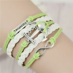Mix Infinity love leather love owl Leaf charm handmade bracelet bangles jewelry friendship gift