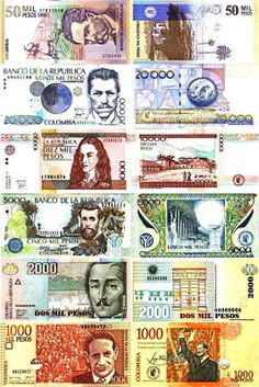 Actuales billetes de Colombia - Colombian currency.