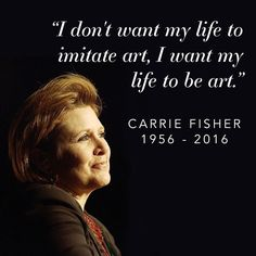 Truly saddened by the news of Carrie Fisher. I woke up with a heavy heart before I even saw this.  She was an incredible women who has not been without hardships of her own but whom has come out stronger.  She will be missed.