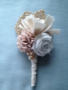 Grooms Boutonniere Fabric Flower Boutonniere by LCFloral on Etsy, $14.95