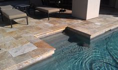 Scabos Paver Pattern #travertine #paver #scabos #frenchpattern #contractor #homeimprovement #pool #poolcoping #decor #design #fixerupper #lifestyle #exteriordesign #marble #naturalstone Backyard Pool Designs, Pool Landscaping, Travertine Pavers, Pool Coping, Deck Stairs, Tuscan Style, Swimming Pools, New Homes, Discount Tile