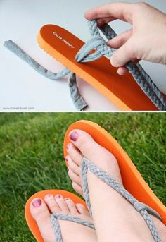 Ways To Reuse Your Broken Things! Salvage ripped flip-flops by making a more comfortable version.Salvage ripped flip-flops by making a more comfortable version. Diy Projects To Try, Crafts To Do, Crochet Projects, Reuse, Upcycle, Flipflops, Diy Accessoires, Diy Vetement, Do It Yourself Fashion