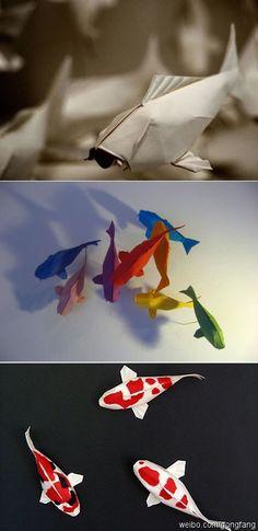 【超级漂亮的锦鲤折纸】用彩色纸折出来的锦鲤真是五彩斑斓,非常漂亮,也可用白色纸折,然后用彩笔涂绘,非常逼真哟。教程视频: