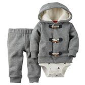 With toggles, elbow patches, and a fuzzy sherpa-lined hood, this cardigan might be his cutest and coziest yet! A soft cotton bodysuit and matching sweater-knit pants complete this handsome little outfit.<br>