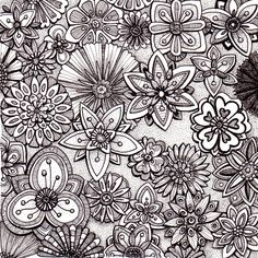 Floramania -  Beautiful and original whimsical abstract psychedelic stylised Ink drawing illustration of flowers.. $49.00, via Etsy.