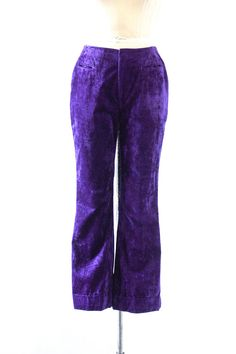 PURPLE HAZE Vintage 70s PURPLE Velvet Pants  DETAILS: • hip huggers • front hip pockets • metal zip • slightly flare leg  ERA: 1970s  SIZE: mens small waist: 29 hip: 37 inseam: 28 rise: 12 pant length: 40  FABRIC: velvet  COLOR: purple  CONDITION: excellent! cleaned and ready to wear