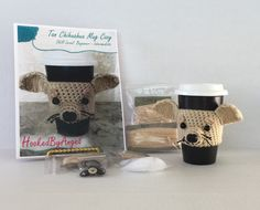 CROCHET KIT, Chihuahua Mug Cozy Kit, Crochet Dog Kit, Amigurumi Kit, DIY Crochet Kit - pinned by pin4etsy.com