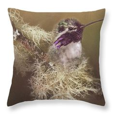 Costas Hummingbird Painted Throw Pillow by Teresa Wilson.