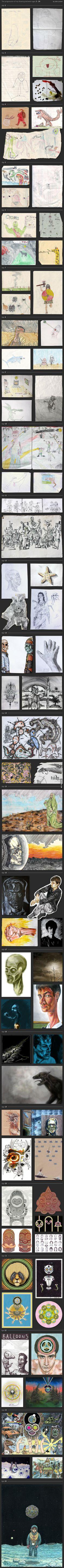 Epic drawing progression, ages 2-24. Evidently violent kid from 7-12, depressed 13-19, on acid 20-24. LOL!