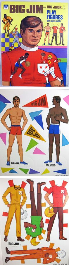 """Big Jim and Big Jack Play Figures with Sports Outfits by Whitman, 1976 - Notice that they didn't call these """"paper dolls"""" in those days, as they were for boys. Of course, almost all of the Big Jim accessories, i.e. the camper, tent, dune buggy, corvette, airplane, Kung Fu studio, etc., were make-overs of Mattel's Barbie accessories with the colors changed for boys, but I guess we weren't supposed to notice that... LOL!!!"""