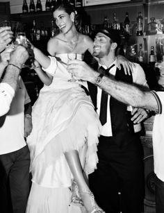 Gorgeous black & white italian wedding smiles...