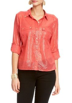 2B Jasmine Luxe Button Down 2b Woven Tops Wild Rose-s 2b by bebe. $24.99