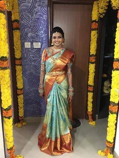 Bridal Silk Saree, Silk Sarees, Wedding Sarees, Wedding Dresses, Colour Combo, Color, Indian Wedding Outfits, Indian Bridal, Saree Blouse