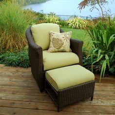 5 Patio Chair with Nesting Ottoman | Balloondir Outdoor Ottomans, Outdoor Seating, Outdoor Decor, Outdoor Life, Sterling Homes, Porch Chairs, Chair And Ottoman Set, Woven Chair, Chairs For Small Spaces
