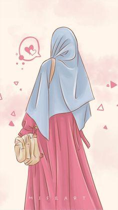 "Mifeart (Pencil Art): ""Caption by ustadz Felix Siauw - Auratmu Dosaku Sebebas-be. Wallpaper Hp, Cute Girl Wallpaper, Cartoon Wallpaper, Wallpaper Quotes, Laptop Wallpaper, Hijabi Girl, Girl Hijab, Vector Character, Cover Wattpad"