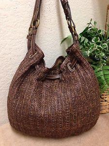 Fossil Brown Woven Straw Leather Trim Hobo Shoulder Handbag Bag 75082 Med  Large  d0fa0fd1b4e31