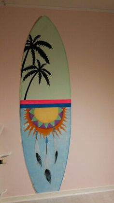 Muurschildering surfboard voor Ibiza/strand kamer
