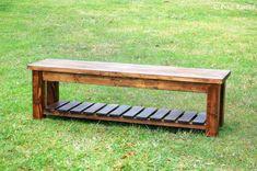Rustic Farmhouse Entryway Bench with Storage Shelf by PennRustics
