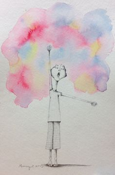 girl illustration, pencil drawing, watercolour Bad Hair Day by Moongirl