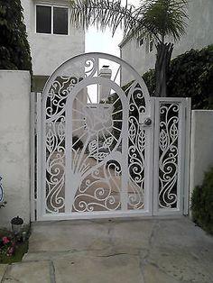 Metal Gate Panel Custom Walk Pedestrian Ornamental Iron Garden Art Made in USA Metal Garden Gates, Metal Gates, Wrought Iron Fences, Garden Doors, Metal Doors, Pergola Plans, Pergola Kits, Pergola Ideas, Casas Magnolia