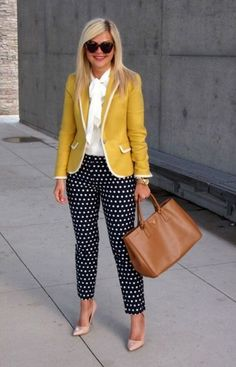 Spring Look    Picture    Description  Polka dot pants, white shirt and yellow blazer 2018 – LadyStyle     https://looks.tn/season/spring/spring-look-polka-dot-pants-white-shirt-and-yellow-blazer-2018-ladystyle/