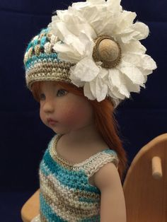 """Hand Crochet And Vintage Lace Ensemble For 13"""" Effner Little Darling"""
