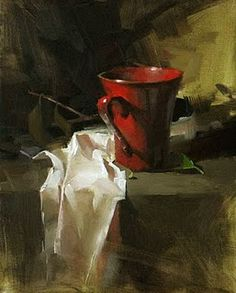 "Painting by Qiang-Huang entitled ""A Red Cup"" Painting Still Life, Still Life Art, Paintings I Love, Beautiful Paintings, Realistic Paintings, Art Paintings, Artist Gallery, Art Oil, Traditional Art"