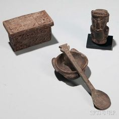 Four Pre-Columbian Wood Items, Central Coast, Peru, c. 1000-1500 A.D., a Chancay coffer with avian design; a small figure of a human torso; a bowl with bird and crayfish motif; and a spoon, spoon lg. 5 1/2 in. | Sale Number 3005B, Lot Number 17 | Skinner Auctioneers