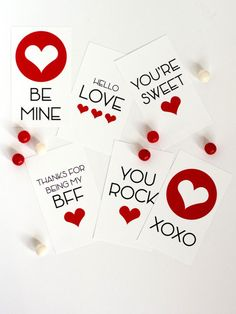"""Download and print these cute cards designed with tween/teens in mind! The cards are the perfect size for handing out to classmates and friends! Includes six designs with sweet sayings like """"You Rock,"""" """"Thanks for Being My BFF,"""" and """"XOXO""""."""