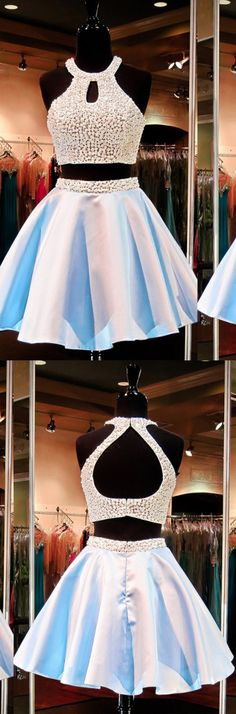 2 pieces short light sky blue prom dress dress/homecoming dress, party dress