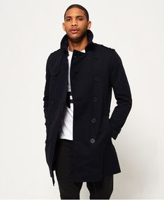 Elba + Superdry present the mens New Director trench coat. Double-breasted b18baf71655