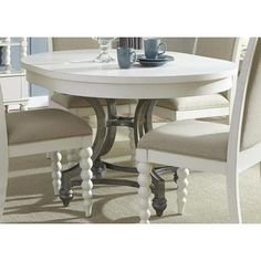 Liberty Furniture Harbor View II Round Dining Table in Linen - 631-T4254 from BEYOND Stores