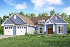 Introducing Architectural Designs Craftsman Ranch House Plan 51757HZ. This home gives you 3 beds, 2.5 baths and over 2,200 square feet of living with a split bedroom layout.  Be the first to build it!  Ready when you are. Where do YOU want to build?  Plans: https://www.architecturaldesigns.com/51757hz