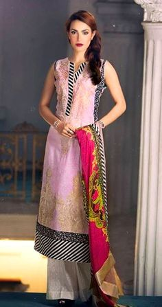 Lilac Embroidered Cotton Lawn Dress - Pakrobe