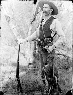 The turn of the 20th century found Charles Eliott Gill in the prime of his life and pausing to compose a self portrait sporting a fresh kill and some of the clothing and accessories typical of old west fashion.  Photo courtesy of the Missouri State Archives.