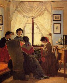 Odoardo Borrani  Le cucitrici di camicie rosse - 1863 per #NarrArte e #scritturebrevi #twiart