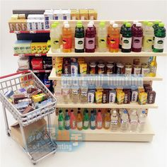 1:12 Miniature Dollhouse Wooden Supermarket Rack for Food and Drinks Display Doll House Furniture Accessories Toy