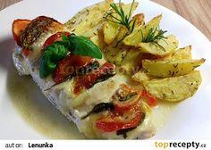 "Kuřecí prsa ""Caprese"" recept - TopRecepty.cz Caprese, Mozzarella, Baked Potato, Zucchini, Sushi, Potatoes, Treats, Chicken, Baking"