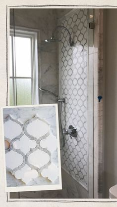 White Thassos & Bianco Carrara Marble Arabesque Marrakech Waterjet Mosaic Tile – Walk-In Shower Tile Ideas, Decorative Wall Panel Luxury Tile. Bath remodeling. Bathroom decor. Marble shower tiles.  White marble bathroom. Moroccan Arabesque tiles. Bathroom renovations. Farmhouse Tile Ideas. White bathroom designs, shower designs. #tiles #bathroom #shower #interiordesign #arabesque #marbletiles #homeimprovements #remodeling #renovations #showertiles #bathroomdesign #carraramarble